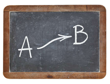 going from A to B concept - white chalk drawing on vintage slate blackboard Stock Photo - 12871247
