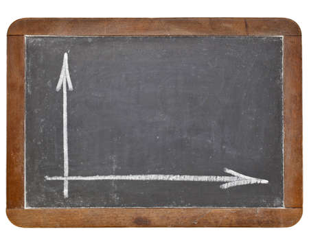 blank graph  or coordinate axis - white chalk on retro slate blackboard isolated on white Stockfoto