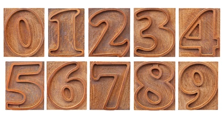 a set of isolated 10 numbers from zero to nine - vintage letterpress wood type, outlined font Stock Photo - 12871324