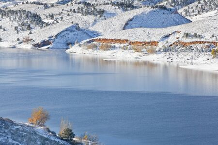 mountain lake in winter scenery - Horsetooth REservoir near Fort Collins, Colorado as viewed from Centennial Road Stock Photo - 12871577