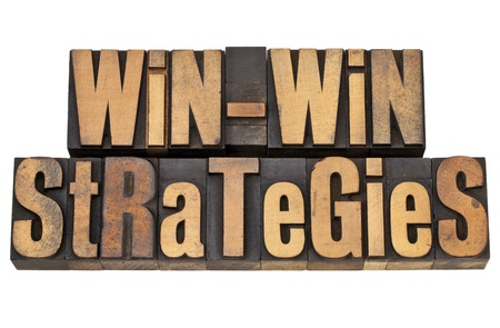 win-win strategies - negotiation or conflict resolution concept - isolated words in vintage wood type Stock Photo