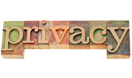 privacy - isolated word in vintage letterpress wood type Stock Photo - 12980888