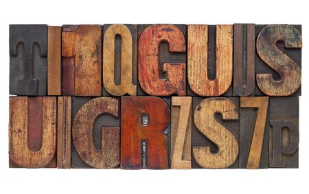 letters and numbers - isolated vintage letterpress wood type abstract Stock Photo - 12980893