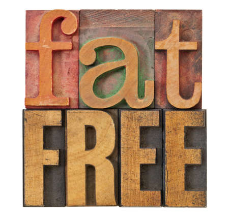 fat free - diet ot nutrition concept - isolated text in vintage letterpress wood type Stock Photo - 12980892
