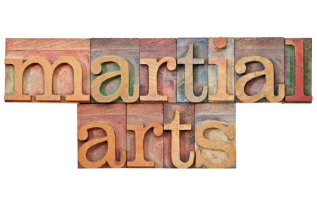 martial arts - isolated text in vintage letterpress wood type Stock Photo - 12980891