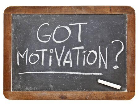Heb je motivatie vraag - wit krijt handschrift op vintage grunge lei schoolbord Stockfoto