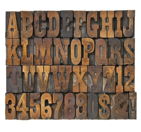 letterpress type: letters and numbers in vintage letterpress wood type - alphabet in French clarendon typeset