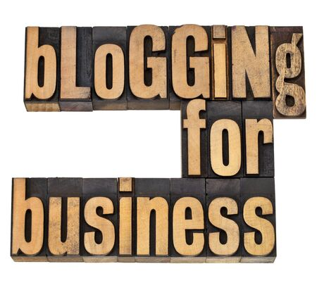 printing block block: blogging for business - internet concept -isolated text in vintage letterpress wood type Stock Photo