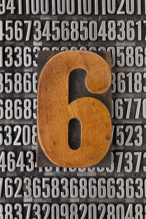 number six in vintage letterpress wood type against background of random metal numbers Stock Photo - 13104962