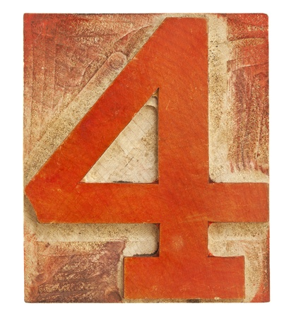 Number 4: number four - isolated letterpress printing block stained by red ink