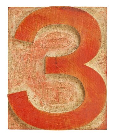 number three - isolated letterpress printing block stained by red ink Stock Photo - 13134744