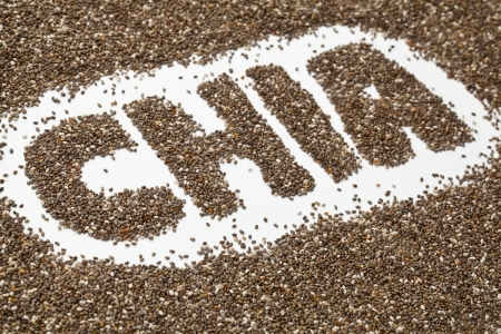 chia word made from chia seeds on white artist canvas Stock Photo - 13174437
