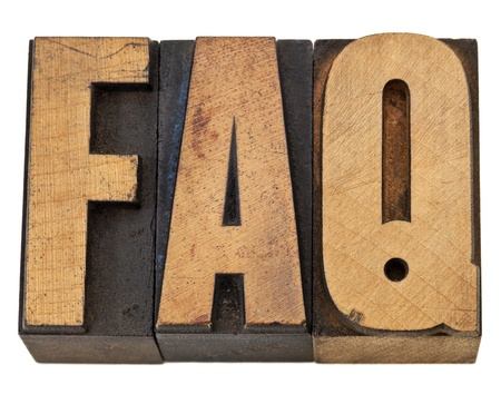 FAQ - frequently asked questions acronym - isolated text in vintage letterpress wood type Stock Photo - 13174445