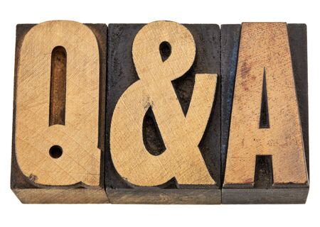 Q&A - questions and answers acronym - isolated text in vintage letterpress wood type Stock Photo - 13174451