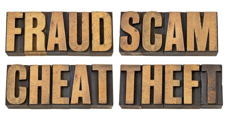 scam: fraud, scam, cheat and theft - crime related isolated words in vintage letterpress wood type