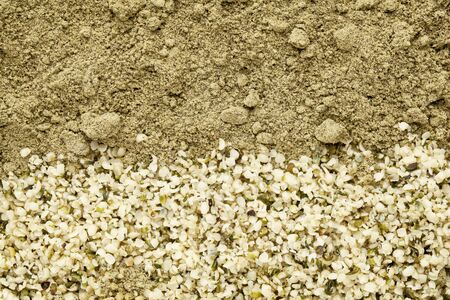 shelled: texture of shelled hemp seeds and protein powder