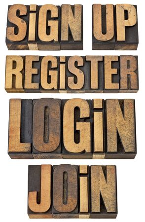 login, register, join, sign up - internet and networoking terms - a collage of isolated words in vintage letterpress wood type