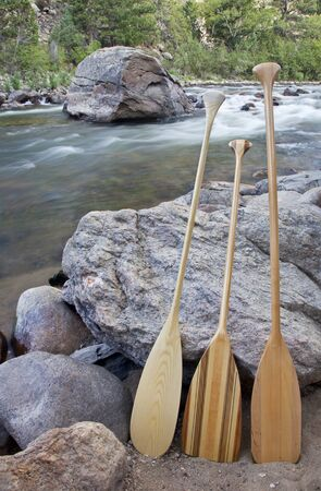 three wooden canoe paddles on shore of mountain river - Cache la Poudre RIver near Fort Collins, Colorado Stock Photo - 13227070