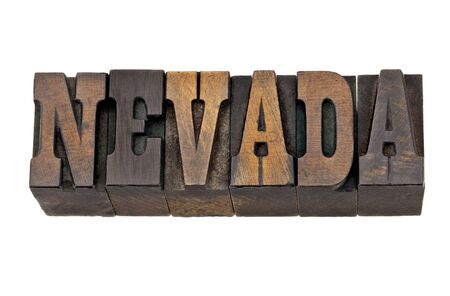 memorabilia: Nevada - isolated word in vintage letterpress wood type - French Clarendon font popular in western movies and memorabilia