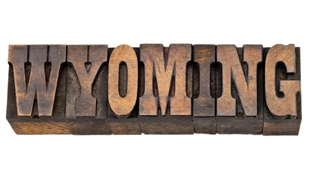 memorabilia: Wyoming - isolated word in vintage letterpress wood type - French Clarendon font popular in western movies and memorabilia