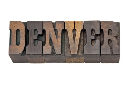 Denver - capital city of Colorado - isolated word in vintage letterpress wood type - French Clarendon font popular in western movies and memorabilia photo