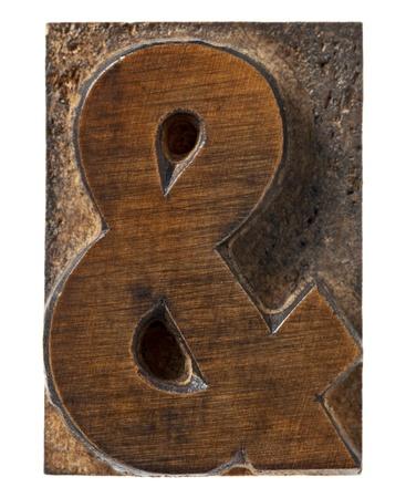 ampersand symbol  - isolated vintage wood letterpress type block, Stock Photo - 13299894