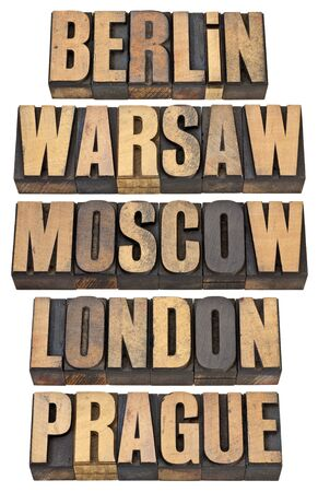 Berlin, Warsaw, Moscow, London and Prague - selected capital cities of Europe - a collage of isolated words in vintage letterpress wood type Stock Photo - 13299933