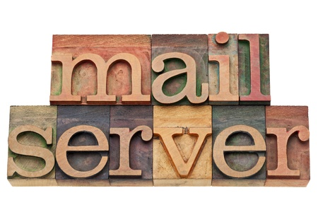 mail server - internet and computer concept - isolated text in vintage letterpress wood type Stock Photo - 13299924