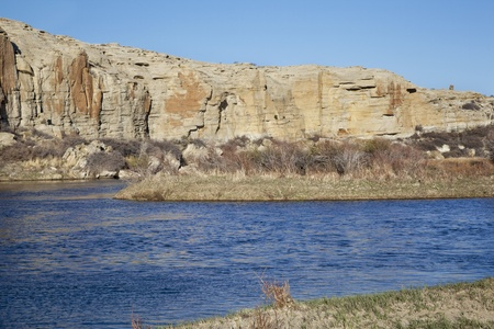 North Platte River in high desert landscape north of Saratoga, Wyoming, early spring