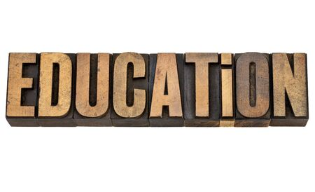 education  - isolated text in vintage letterpress wood type Stock Photo - 13331789