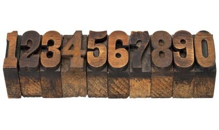 ten numbers from zero to nine in isolated vintage wood letterpress printing blocks, French Clarendon face popular in western movies and memorabilia photo