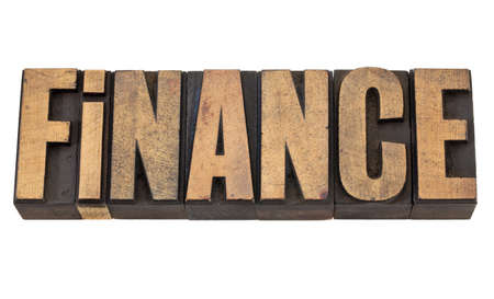finance  - isolated text in vintage letterpress wood type Stock Photo - 13378889