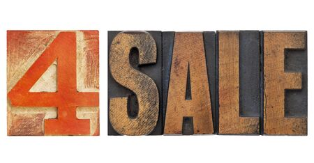 4 sale sign - isolated text in vintage letterpress wood type with red number four Stock Photo - 13378901