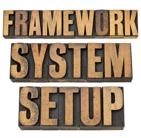 framework, system, setup - a collage of isolated words in vintage letterpress wood type Stock Photo - 13378893