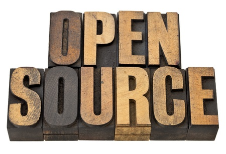 open source - computer software concept - isolated text in vintage letterpress wood type Stock Photo - 13378904
