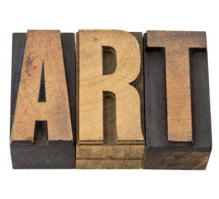 printing block: art - isolated word in vintage letterpress wood type