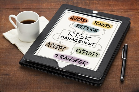 risk management strategies - avoid, ignore, reduce, accept, transfer or exploit - colorful  sketch on a tablet computer with stylus pen and espresso coffee cup against grunge scratched wooden table Stock Photo - 13559134