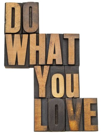 do what you love - motivation  concept - isolated text in vintage letterpress wood type Stock Photo - 13559127