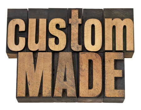 custom made: custom made - isolated text in vintage letterpress wood type