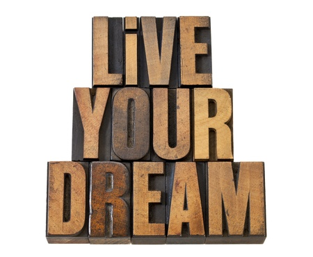 live your dream - motivation reminder - isolated text in vintage letterpress wood type Stock Photo - 13604643