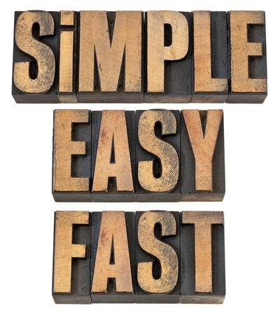 sencillez: simple, fácil y rápida - un collage de palabras aisladas en el tipo de cosecha de madera de tipografía
