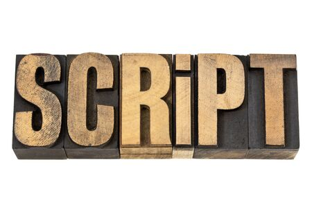 script - isolated word in vintage letterpress wood type Stock Photo - 13671324