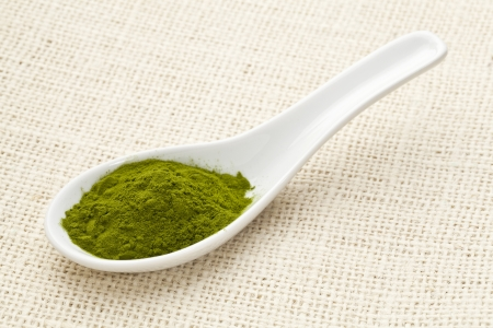 green freeze-dried organic wheat grass powder, nutritional supplement, on a white ceramic spoon against burlap canvas Stock Photo - 13671310