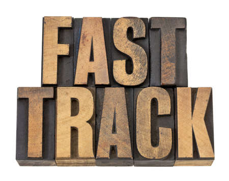 fast track - career concept - isolated text in vintage letterpress wood type Stock Photo - 13710262