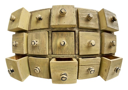 perspective grid: data storage concept - 15 drawers of a primitive wooden apothecary cabinet in distorted fish eye lens perspective