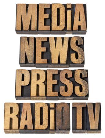 los medios de comunicaci�n, noticias, prensa, radio y televisi�n - un collage de palabras aisladas en el tipo de cosecha de madera de tipograf�a Foto de archivo - 13710296