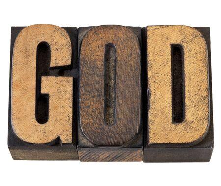 printing block block: God - isolated word in vintage letterpress wood type Stock Photo