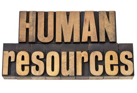 human resources - isolated phrase in vintage letterpress wood type Banco de Imagens