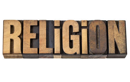religion - isolated word in vintage letterpress wood type Stock Photo - 13746746