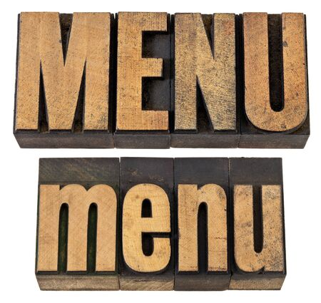 menu - isolated word in vintage  letterpress wood type, upper and lower case layout Stock Photo - 13794950